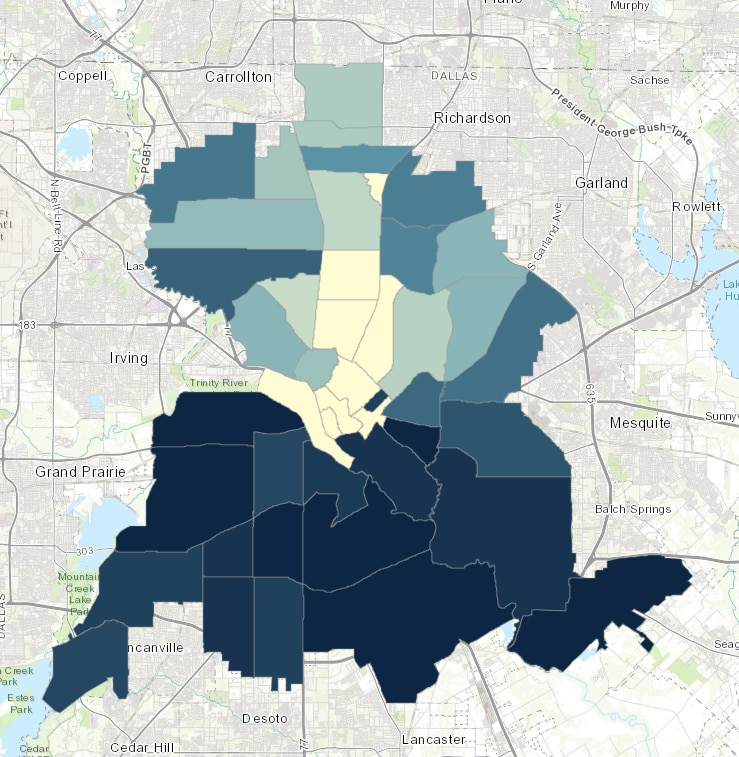 The blue areas of the City of Dallas Community Food Assessment show higher levels of obesity concentration. An Index of Concentration level of 100 is average.