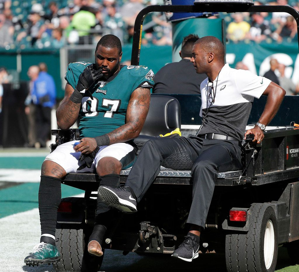 Philadelphia Eagles defensive tackle Malik Jackson gets carted off the field with a medical staff member after getting injured duirng the fourth quarter against the Washington Redskins on Sunday, Sept. 8, 2019 in Philadelphia, Pa.