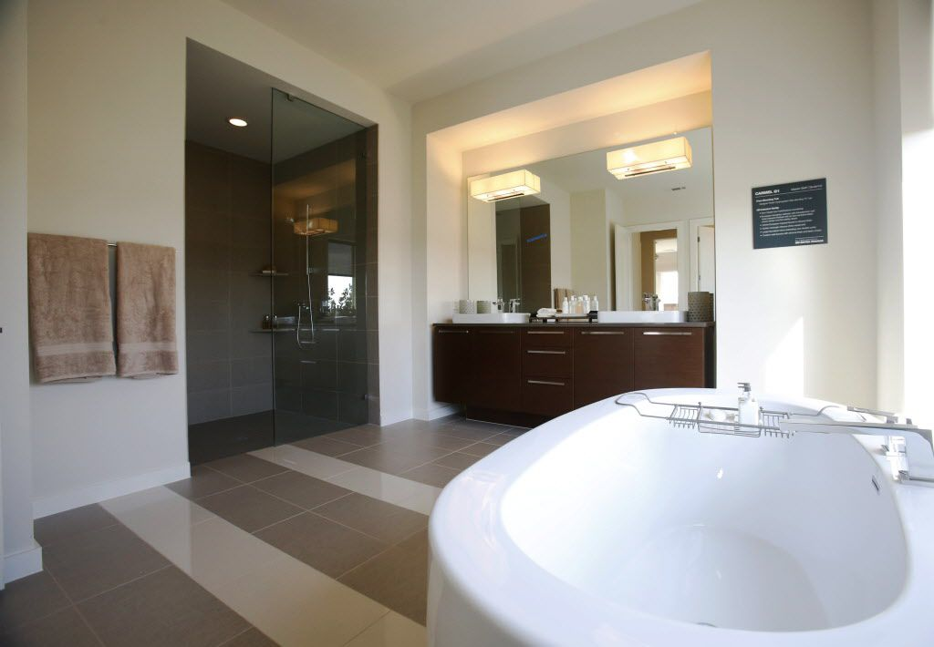 Master bathroom in the MainVue Homes Carmel Q1 model home at Phillips Creek Ranch in Frisco, on Tuesday, February 17, 2015. (Vernon Bryant/The Dallas Morning News)