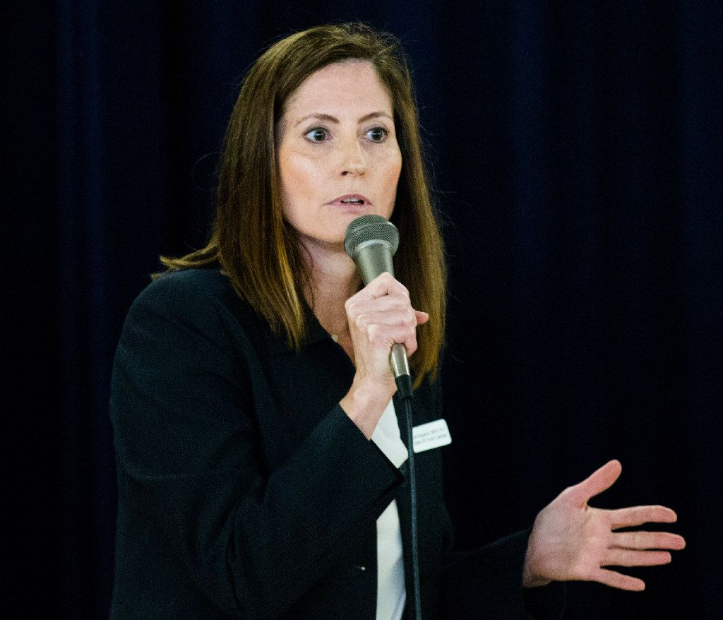 Dallas ISD District 2 board of trustee candidate Lori Kirkpatrick participated in a forum with Dustin Marshall on Tuesday at Eduardo Mata Elementary School in Dallas. (Ashley Landis/Staff Photographer)