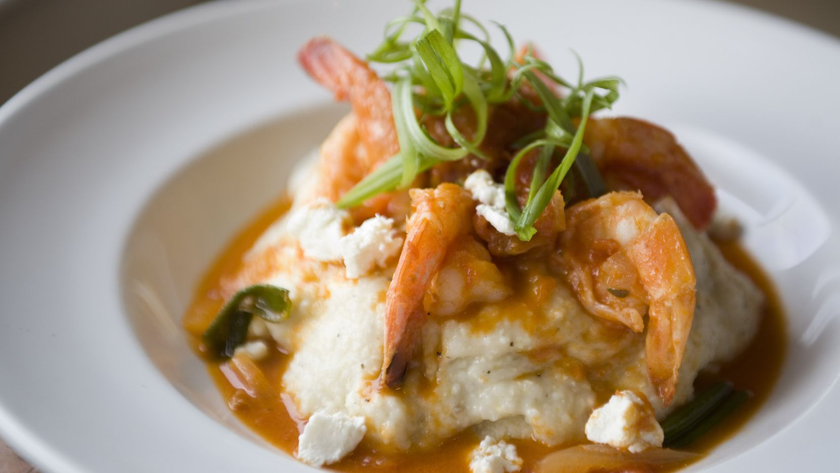 Shrimp and grits were a popular order at Hattie's in the Bishop Arts District, a part of the North Oak Cliff neighborhood in Dallas.