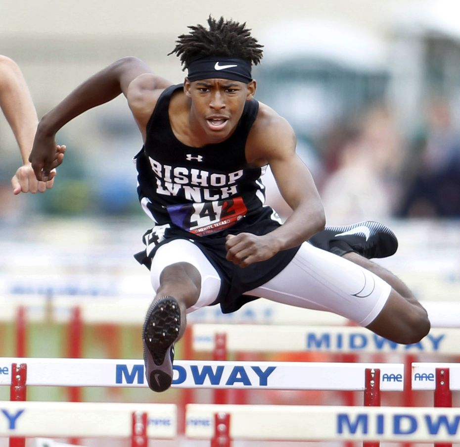 Jeremiah Williams of Bishop Lynch wins the TAPPS 6A boys state title in the 110-meter hurdles with a time of 15.51.
