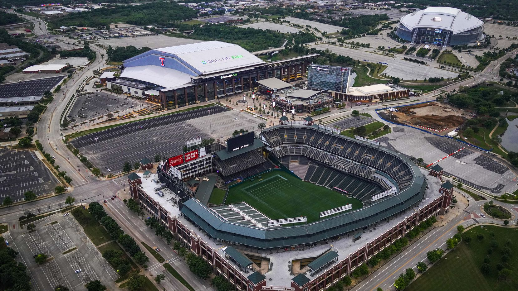 Aerial view of Globe Life Field (top left), AT&T Stadium (top right) and Globe Life Park (bottom) on April 9, 2020, in Arlington.