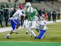 North Texas Mean Green wide receiver Jaelon Darden (1) catches a pass and runs in for a touchdown during the game between the North Texas Mean Green and the Louisiana Tech Bulldogs on Thursday 3, 2020 at Apogee Stadium in Denton, Texas.
