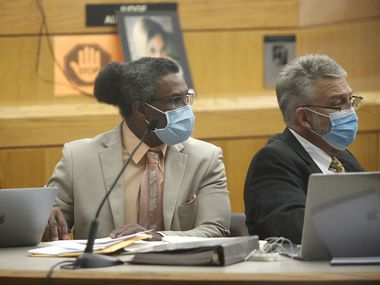Victor Williams (left) listened during his trial at the Frank Crowley Courthouse in Dallas on July 27, 2021.
