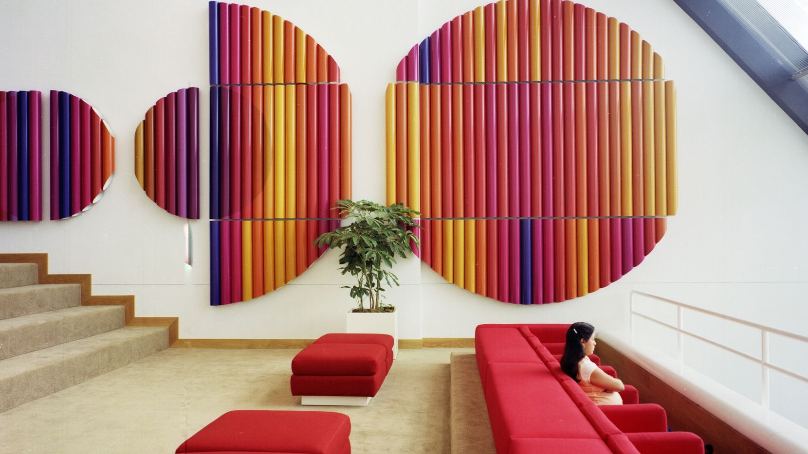 Thom was regularly hired to document the California work of architectural giant SOM, including this 1977 data processing center for Bank of America, in San Francisco, where his sense of color and form are punctuated by the figure of a young woman.