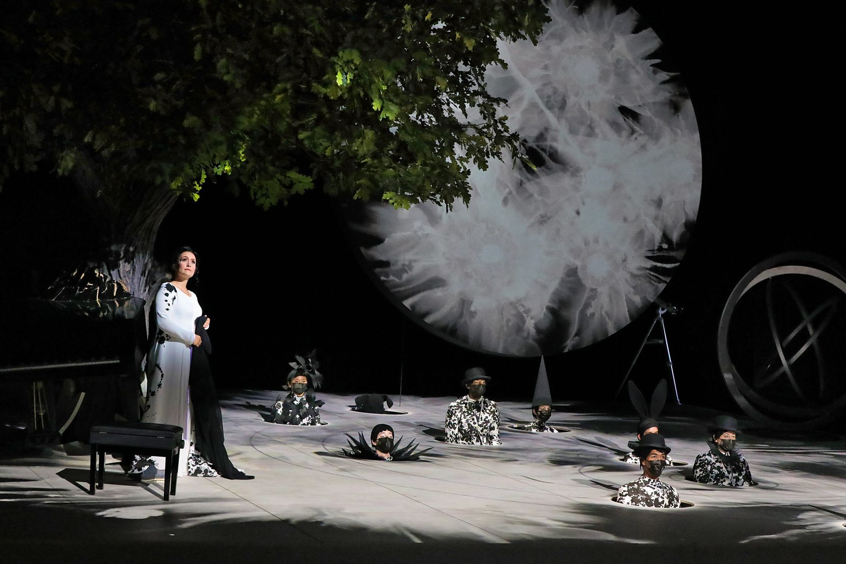 """Erin Morley (Tytania) and Dancers (Fairies) in 2021 Santa Fe Opera production of Britten's """"A Midsummer Night's Dream."""" Photograph by Curtis Brown/Santa Fe Opera."""