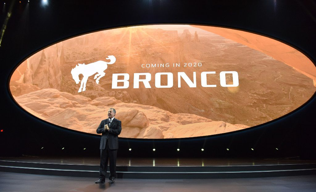 Joe Hinrichs, Ford's president of The Americas, announces that Ford will once again make its Ford Bronco midsize SUV in 2020 on Jan. 9, 2017, in Detroit.
