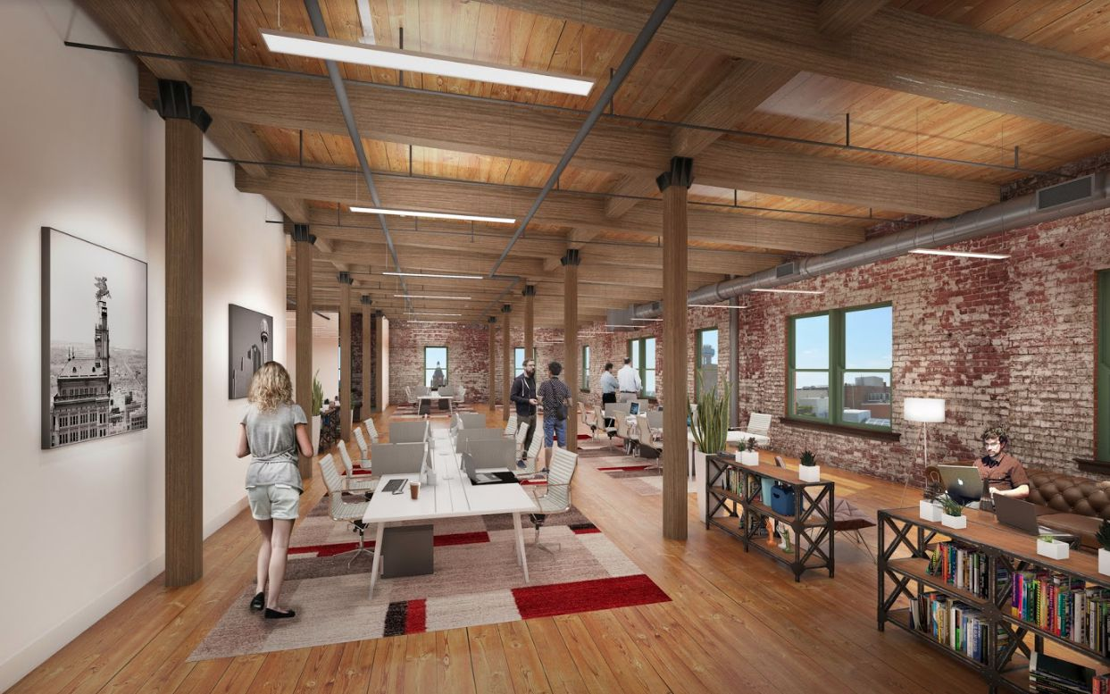 This artist's rendering shows how the historic Purse & Co. building is being converted into a combination of office and retail space.