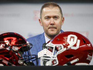 Oklahoma head football coach Lincoln Riley speaks during the Big 12 Conference Media Days at AT&T Stadium on Wednesday, July 14, 2021, in Arlington. (Elias Valverde II/The Dallas Morning News)