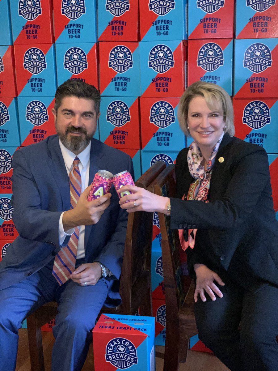 Beer-to-go proponents Rep. Eddie Rodriguez, D-Austin, and Sen. Dawn Buckingham, R-Lakeway, celebrated beer-to-go's passage by the Texas Senate late last month.