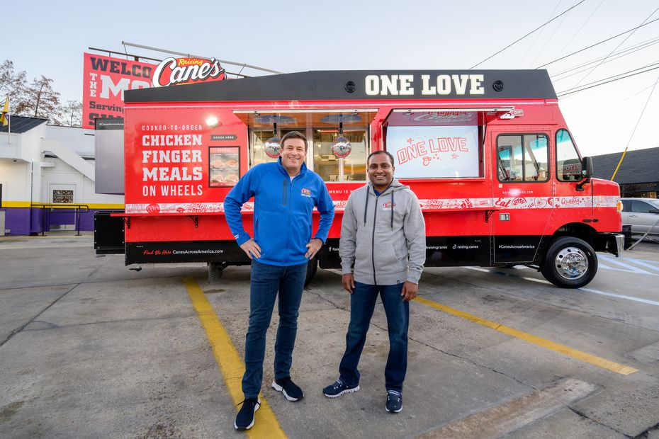 Todd Graves, left, and AJ Kumaran are the co-CEOs of Raising Cane's Chicken Fingers. Graves founded the company in Louisiana, and Kumaran runs a larger Raising Cane's office in Plano, at the company's operations hub.