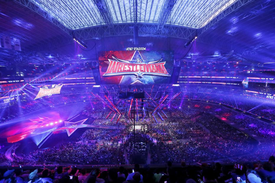 A record crowd of 101,763 fans from all 50 states and 35 countries at WrestleMania 32 at AT&T Stadium on Sunday, April 3, 2016, in Arlington, Texas. (Brandon Wade/AP Images for WWE)