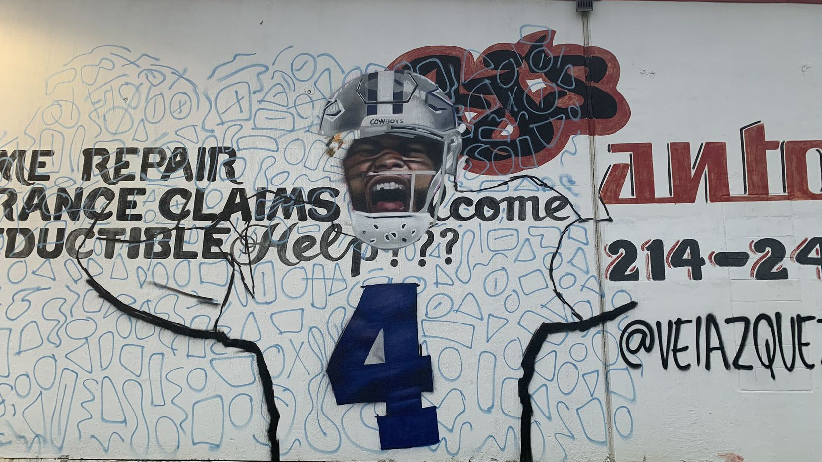 Artist Juan Velazquez tweeted a picture showing the progress on his latest Grand Prairie mural, a tribute to injured Cowboys quarterback Dak Prescott.