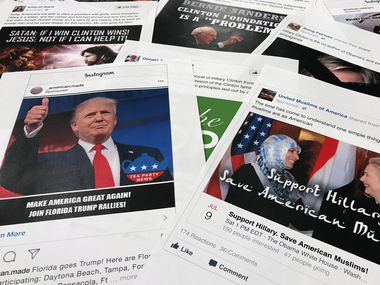 In this Nov. 1, 2017, file photo, Some of the Facebook and Instagram ads linked to a Russian effort to disrupt the American political process and stir up tensions around divisive social issues, released by members of the U.S. House Intelligence committee, are photographed in Washington. Russia's interference in the 2016 U.S. election has generally been seen as two separate, unrelated tracks: hacking Democratic emails and sending provocative tweets. But a new study suggests the tactics were likely intertwined. On the eve of the release of hacked Clinton campaign emails, Russian-linked trolls retweeted messages from thousands of accounts on both extremes of the American ideological spectrum.