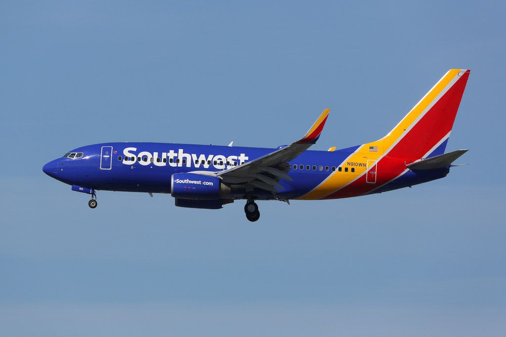 A Southwest Airlines Boeing 737-700 landing at Los Angeles International Airport.