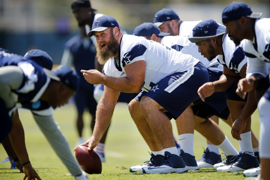 Dallas Cowboys center Travis Frederick (72) calls out the defense before snapping the ball at a morning walk-thru at training camp in Oxnard, California, Tuesday, August 2, 2016. (Tom Fox/The Dallas Morning News)