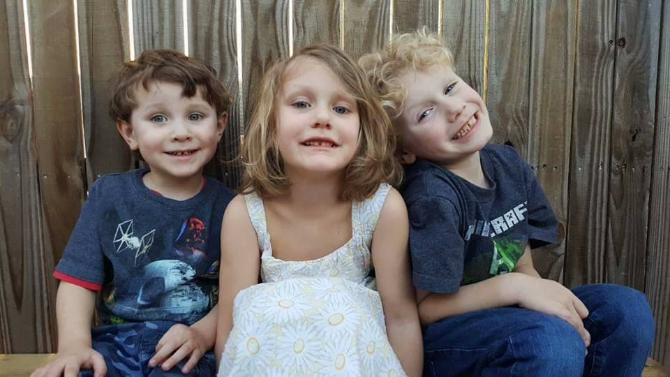 From left: Drake Painter, 4; Caydence Painter, 6; and Odin Painter, 8.