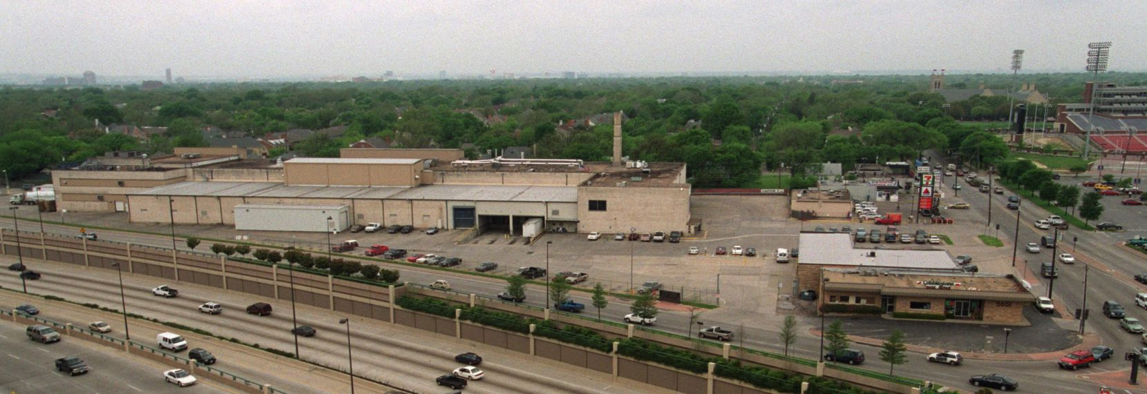 The Mrs. Baird's bread factory was at the southwest corner of Mockingbird Lane and Central Expressway. The southern end of the Southern Methodist University campus is at top right.