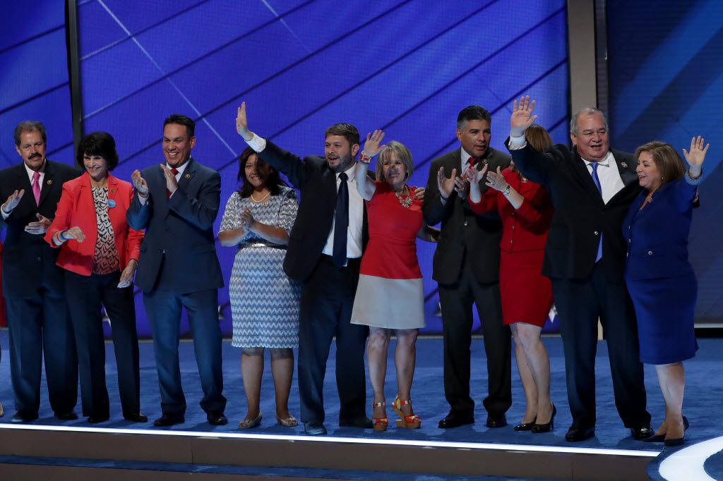 Rep. Linda Sanchez (far right) stands with members of the Congressional Hispanic Caucus after delivering remarks on the first day of the Democratic National Convention.