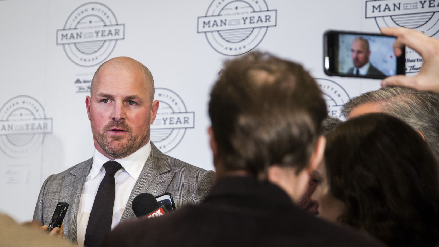 Dallas Cowboys tight end Jason Witten speaks to reporters during media availability before the Jason Witten Collegiate Man of the Year Award ceremony on Tuesday, February 18, 2020 at The Star in Frisco.