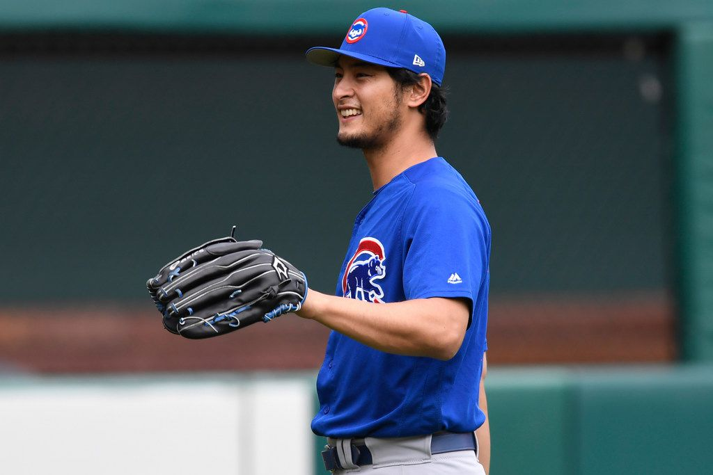 Chicago Cubs pitcher Yu Darvish throws during batting practice prior to a baseball game against the St. Louis Cardinals, Friday, May 4, 2018, in St. Louis. (AP Photo/Michael Thomas)