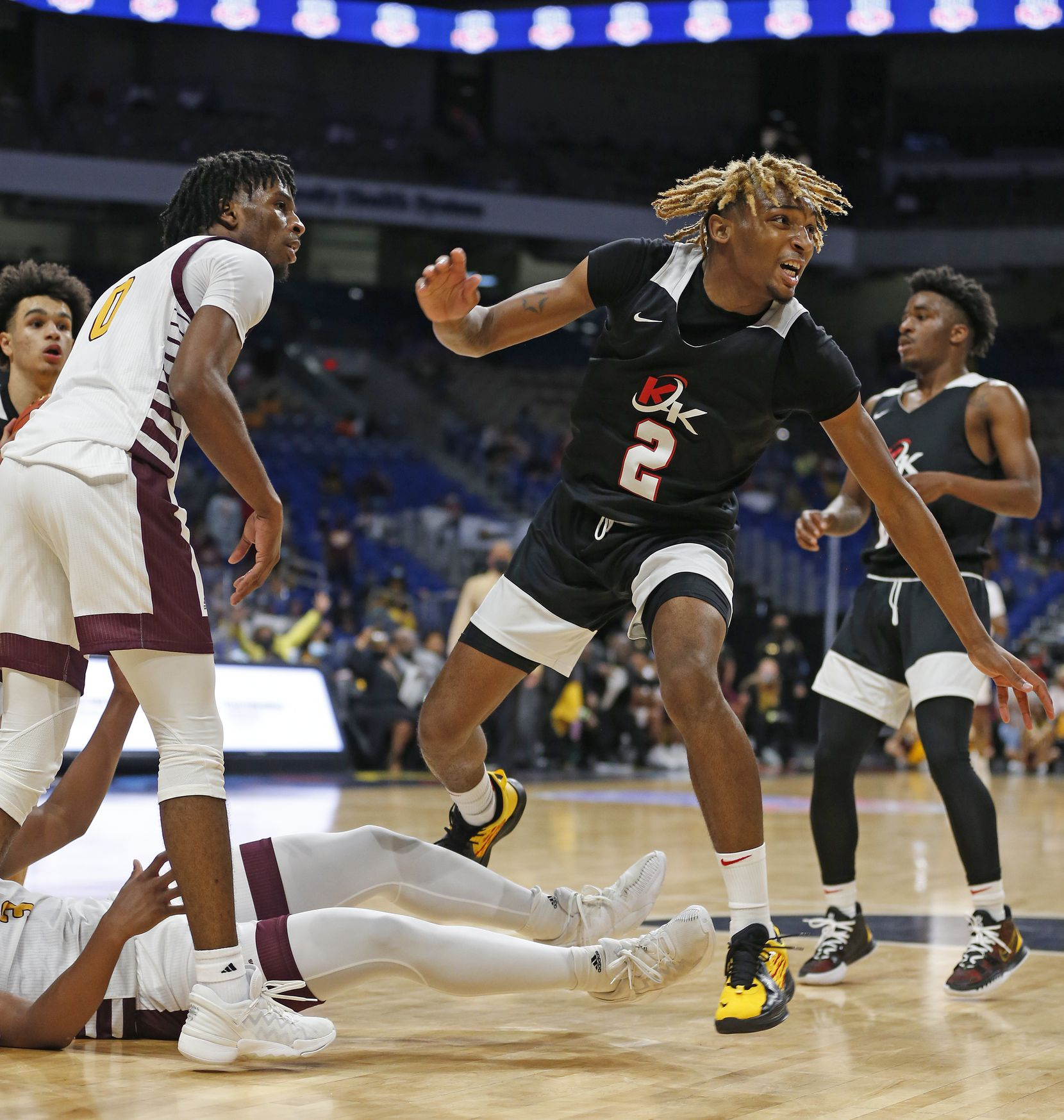 Dallas Kimball Arterio Morris #2 reacts after being called for a charge. UIL boys Class 5A basketball state championship game on Friday, March 12, 2021 at the Alamodome.