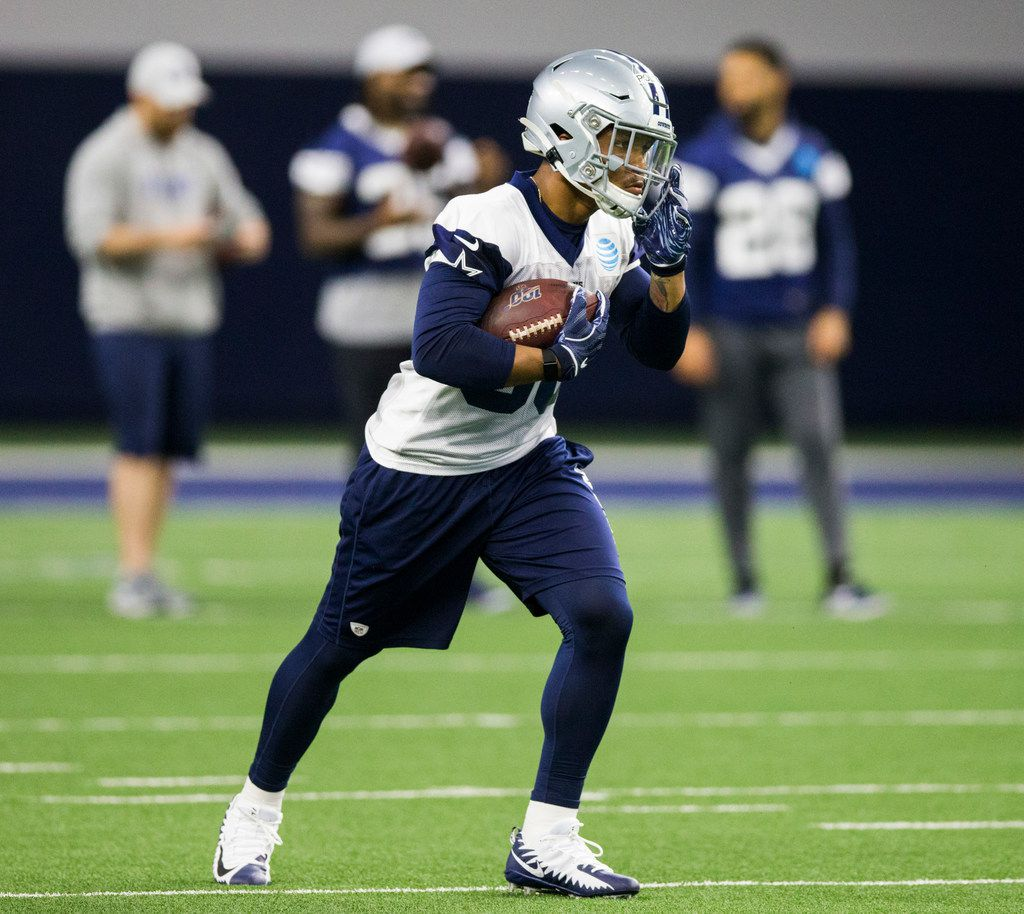 Dallas Cowboys running back Tony Pollard (36) resets a play during a Dallas Cowboys OTA practice on Wednesday, May 29, 2019 at The Star in Frisco. (Ashley Landis/The Dallas Morning News)