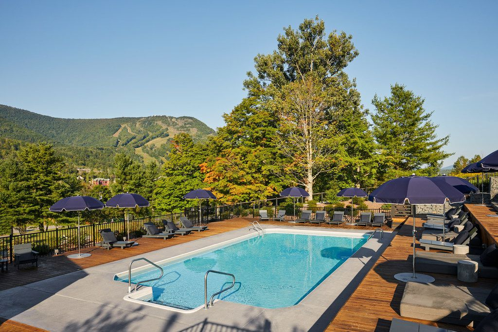 Guests at Scribner's Catskill Lodge can venture out into nature or just stay on the property to relax at the pool.