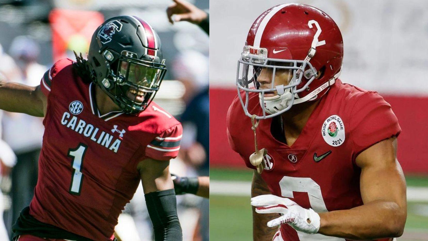 Left: South Carolina CB Jaycee Horn, Right: Alabama CB Patrick Surtain II. (Left: Sean Rayford; Right: Michael Ainsworth/AP)