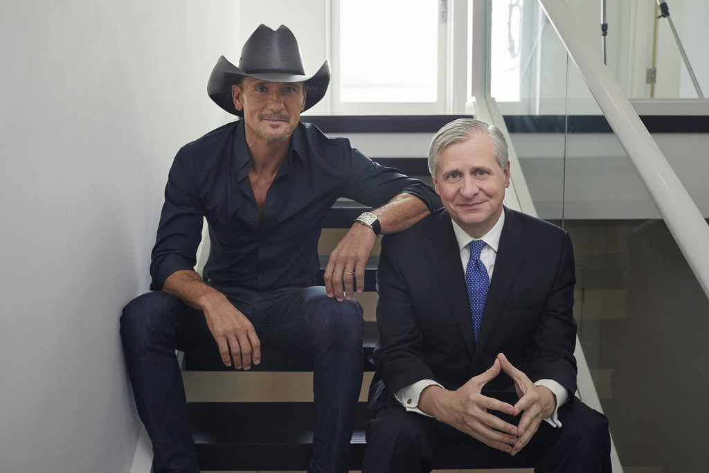 Country music star Tim McGraw (left) and Pulitzer Prize-winning author Jon Meacham teamed up to write Songs of America: Patriotism, Protest, and the Music That Made a Nation.
