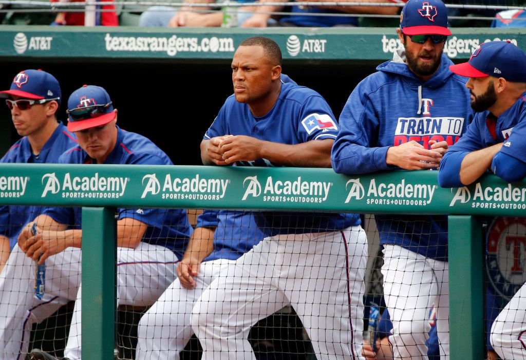 Texas Rangers third baseman Adrian Beltre watches the final exhibition baseball game of the preseason game against the Kansas City Royals, Saturday, April 1, 2017, in Arlington, Texas. It was announce after the game that Beltre will start the season on the disabled list. (AP Photo/Michael Ainsworth)