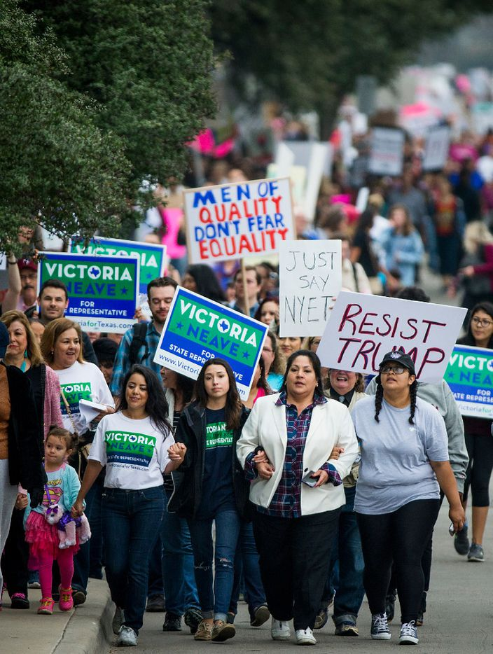 State Rep. Victoria Neave (bottom left) helped lead the Dallas Women's March on Saturday.