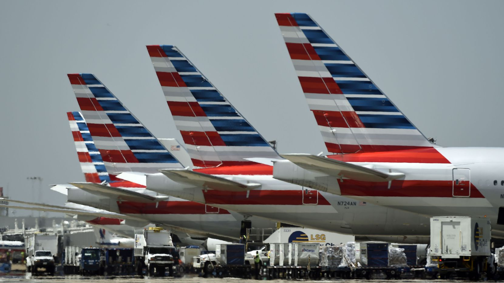 American Airlines planes at Dallas-Fort Worth Airport.