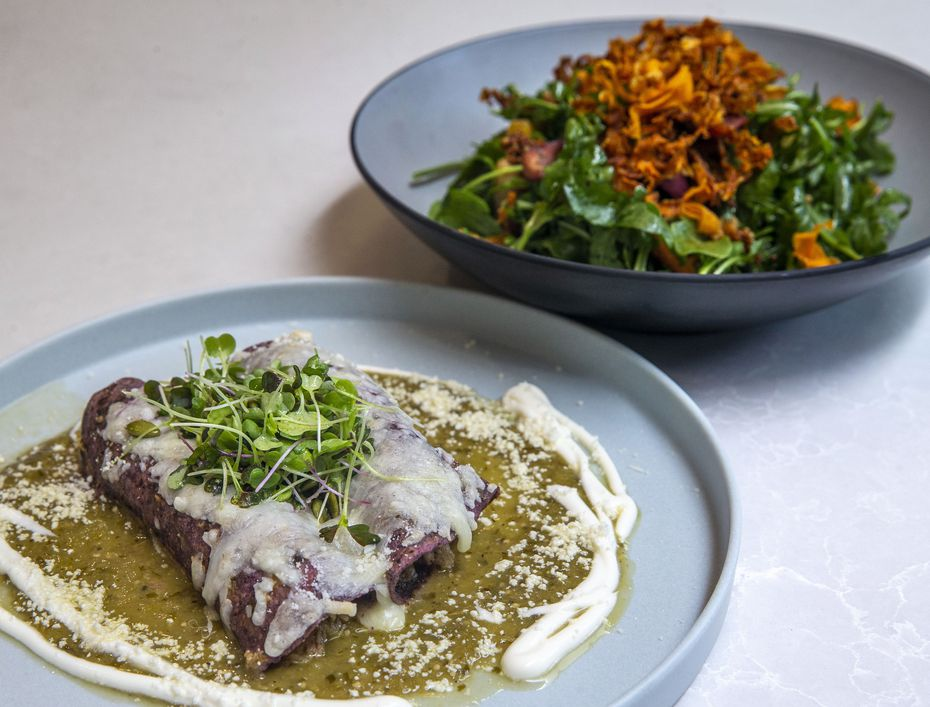 The Tipsy Chicken enchilada plate and the Arugula and Carrot Salad are two menu items at Lada, now open at Hillcrest Village in Far North Dallas.