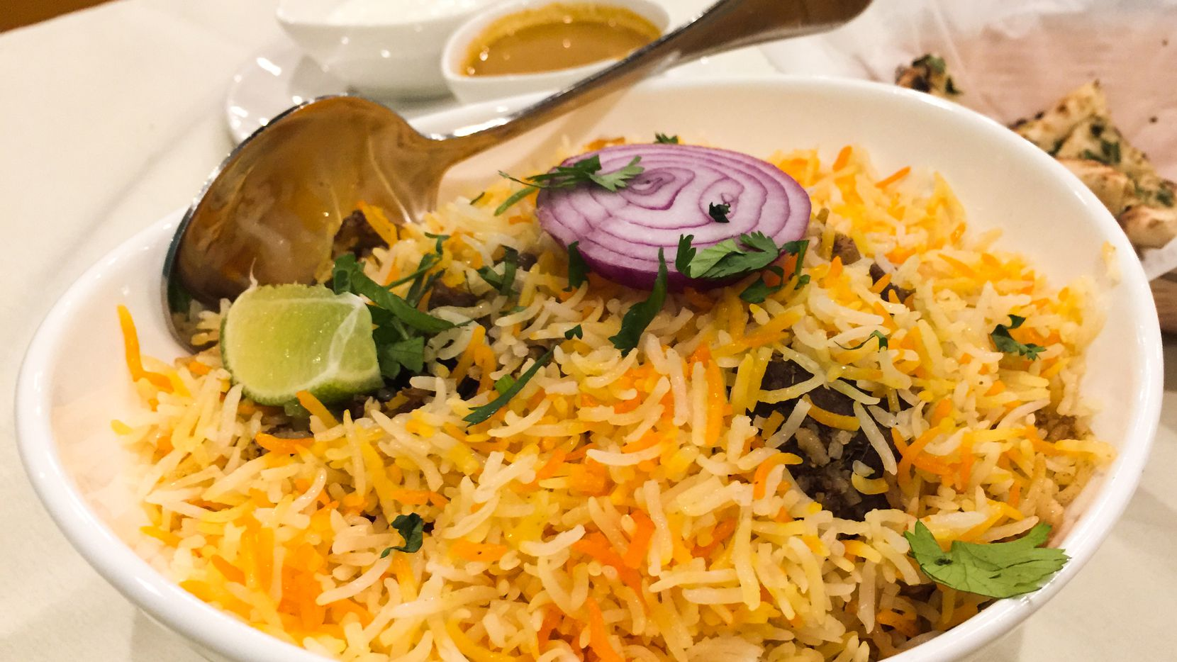 Goat biryani – an Indian layered rice dish – at Touch Nine in Irving. With explosive grown in North Texas' Asian Indian immigrant population comes a plethora of new Indian restaurants.