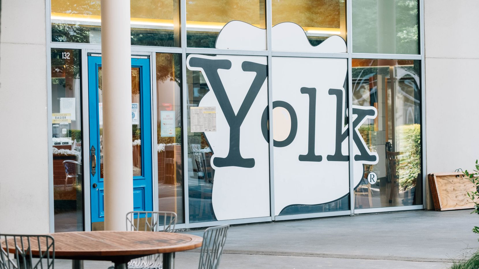 The exterior of the Yolk restaurant in One Arts Plaza in Dallas on Friday.