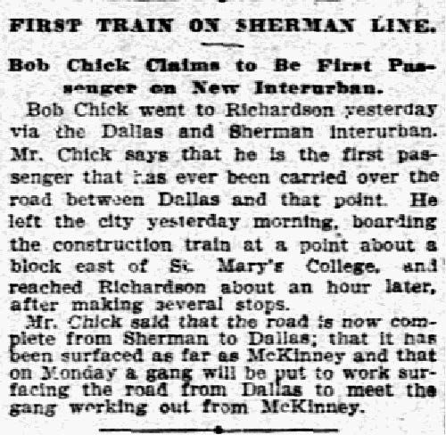 """""""First train on Sherman Line"""" published on April 17, 1908."""