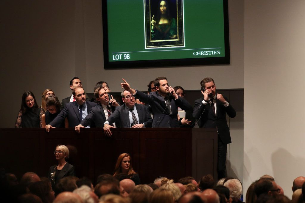 Bidding on the painting during the auction was intense. (Michelle V. Agins/The New York Times)