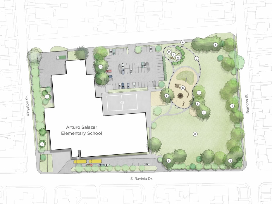 Photo rendering of Arturo Salazar Elementary School. Salazar is one of six Dallas 'cool school' campuses receiving a new community outdoor space.