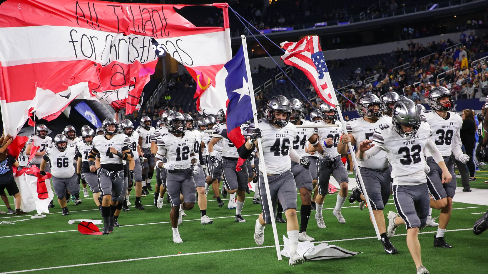 Denton Guyer runs out before a Class 6A Division II state championship game against Austin Westlake at the AT&T Stadium in Arlington, on Saturday, December 21, 2019.