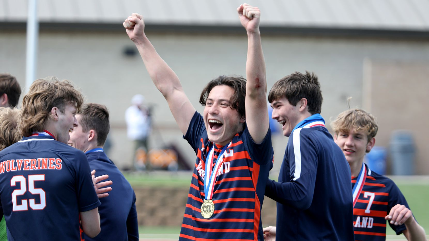 Frisco Wakeland's Brennan Bezdek (22) celebrates with teammates after   being named MVP in the UIL 5A boys State championship soccer game  against Humble Kingwood Park at Birkelbach Field on April 17, 2021 in Georgetown, Texas. Frisco Wakeland won 3-2.
