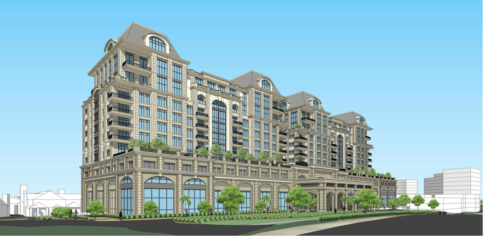 A rendering shows a 10-story condominium building that's part of the $700 million Gate development.