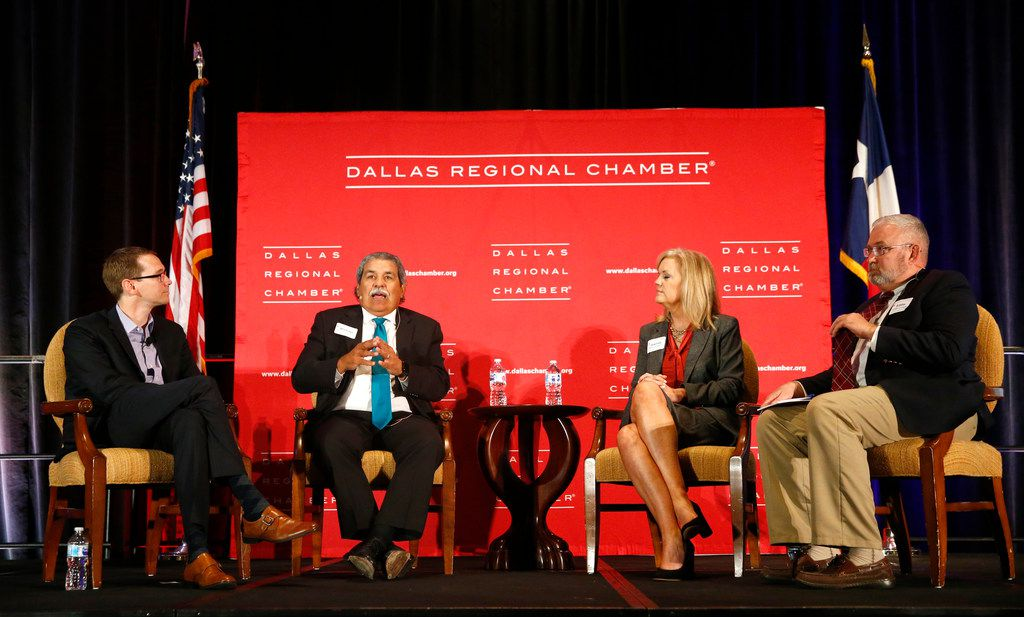 Education Commissioner Mike Morath (from left), DISD Superintendent Michael Hinojosa, Richardson ISD Superintendent Jeannie Stone and Eddie Conger, International Leadership of Texas superintendent, speak to the Dallas Regional Chamber on Sept. 27, 2017.