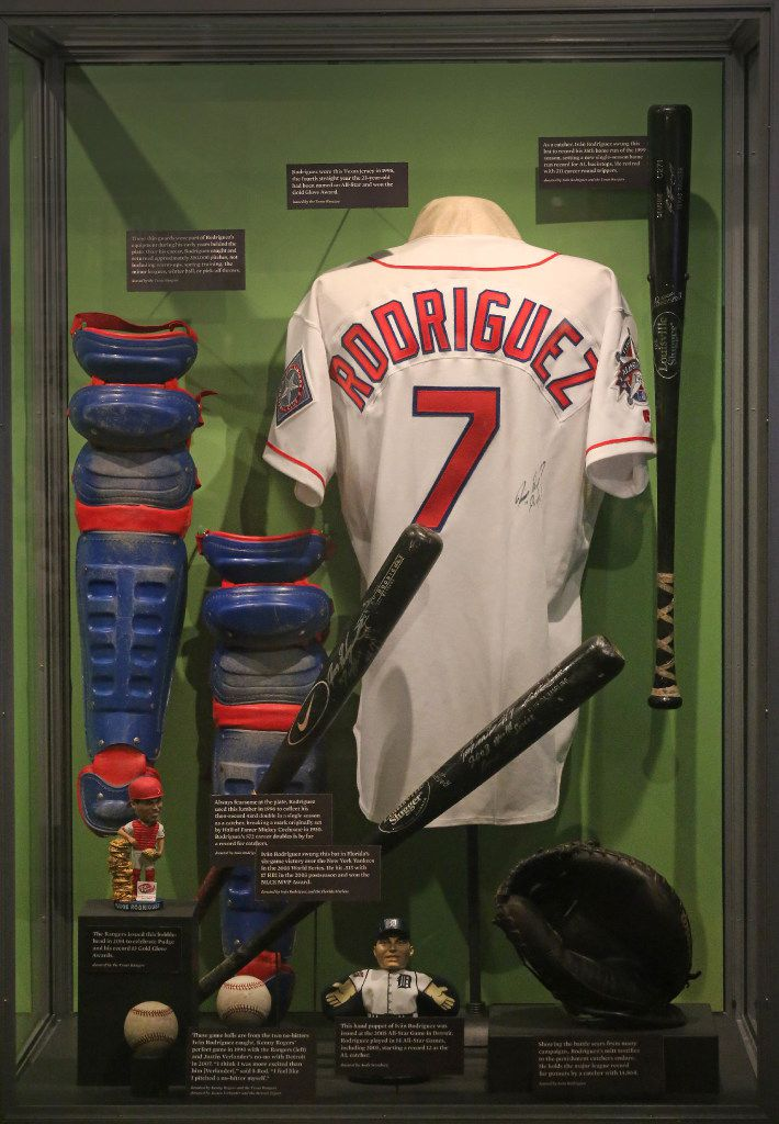 A look at the display of Pudge Rodriguez items at the Baseball Hall of Fame in Cooperstown, NY, photographed on Tuesday, May 30, 2017. (Louis DeLuca/The Dallas Morning News)