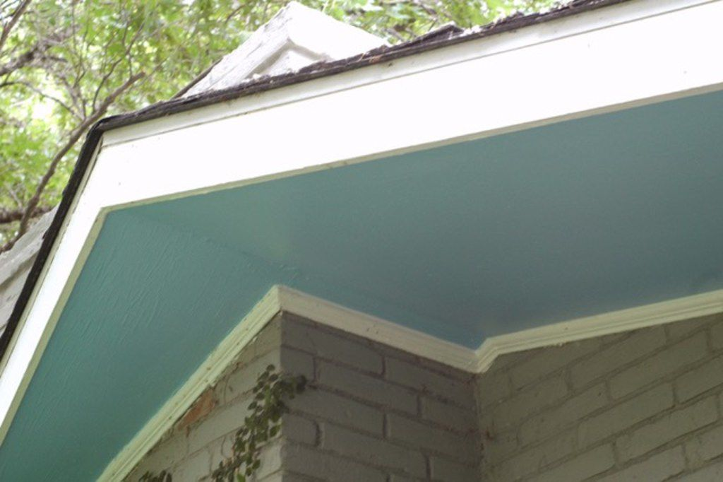 Haint blue is a pale shade of blue that is traditionally used to paint porch ceilings and under eaves.