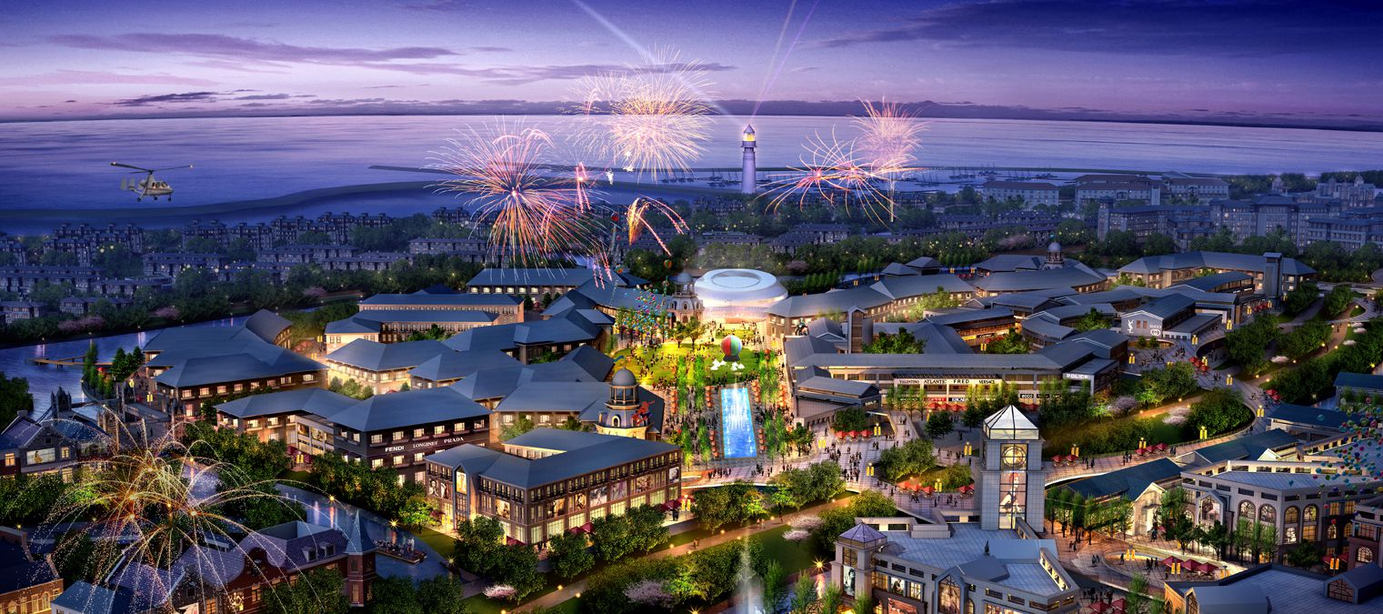 A rendering of what Six Flags envisions a completed park's riverside-themed town would look like in Haiyan.