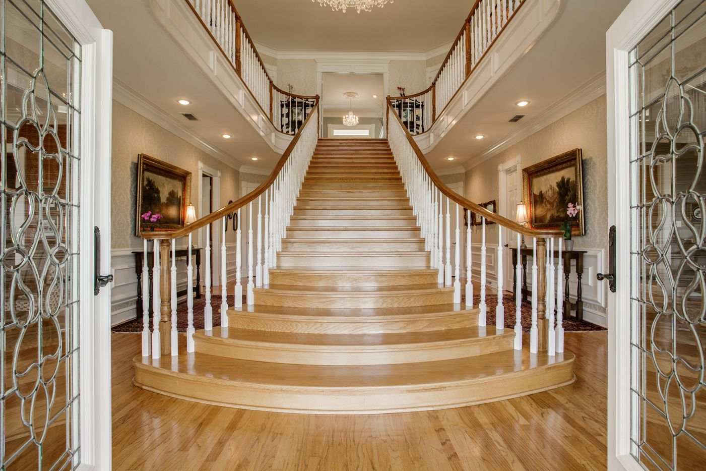The entryway and grand staircase