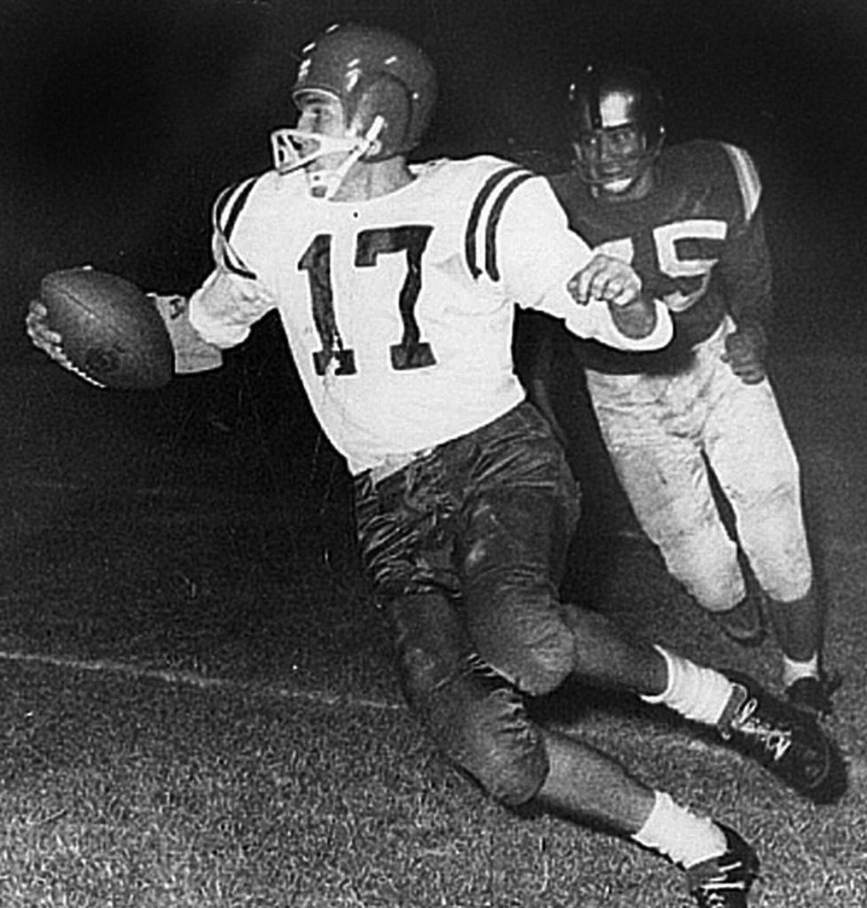 All State and All-American quarterback Jerry Rhome (17) runs with the ball in this undated photo, as a prep quarterback for Dallas Sunset High School. Rhome played college football at Tulsa before a career in the NFL. (AP Photo/Texas High School Hall of Fame via The Waco Tribune Herald)