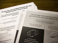 Informational handouts about eviction help at Harmony Community Development Center on Thursday, June 24, 2021, in Dallas. (Juan Figueroa/The Dallas Morning News)